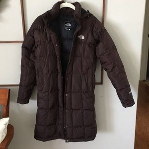 The North Face brown down filled parka small